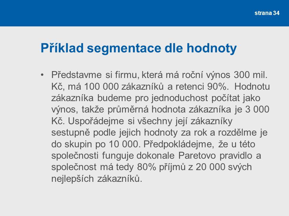 Příklad segmentace dle hodnoty •Představme si firmu, která má roční výnos 300 mil.