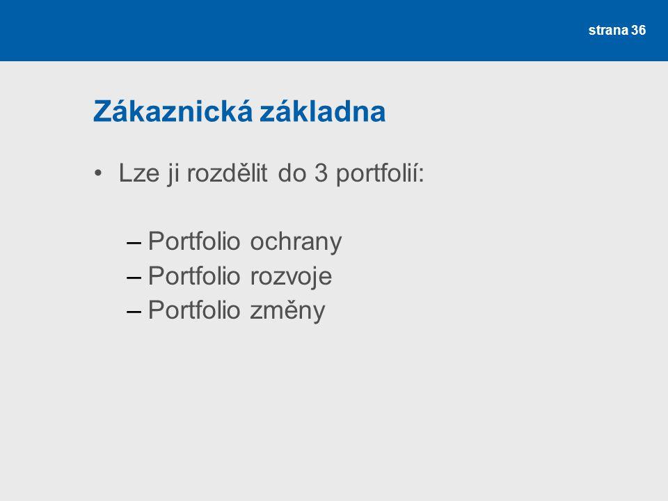 Zákaznická základna •Lze ji rozdělit do 3 portfolií: –Portfolio ochrany –Portfolio rozvoje –Portfolio změny strana 36