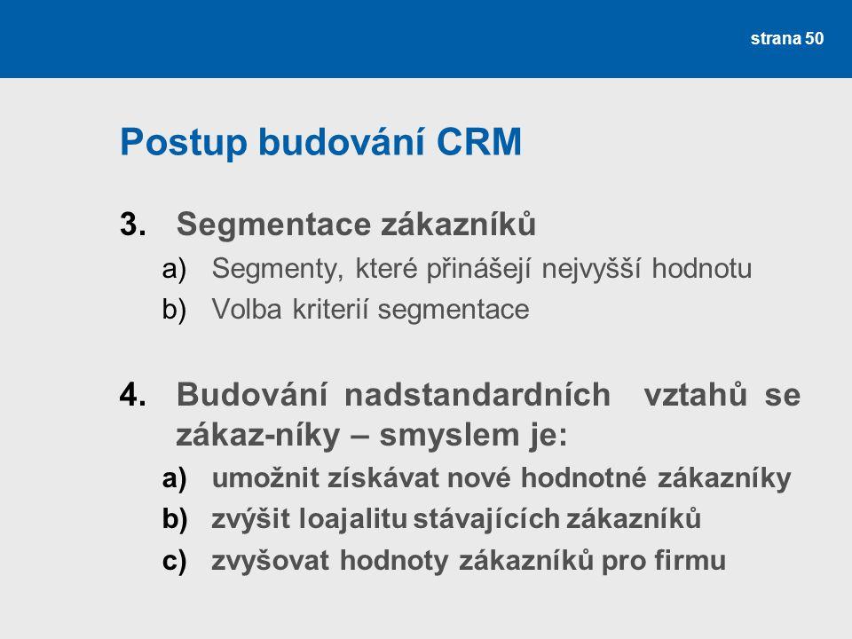 Postup budování CRM 3.Segmentace zákazníků a)Segmenty, které přinášejí nejvyšší hodnotu b)Volba kriterií segmentace 4.Budování nadstandardních vztahů