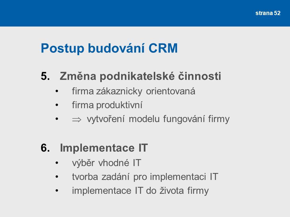 Postup budování CRM 5.Změna podnikatelské činnosti •firma zákaznicky orientovaná •firma produktivní •  vytvoření modelu fungování firmy 6.Implementace IT •výběr vhodné IT •tvorba zadání pro implementaci IT •implementace IT do života firmy strana 52