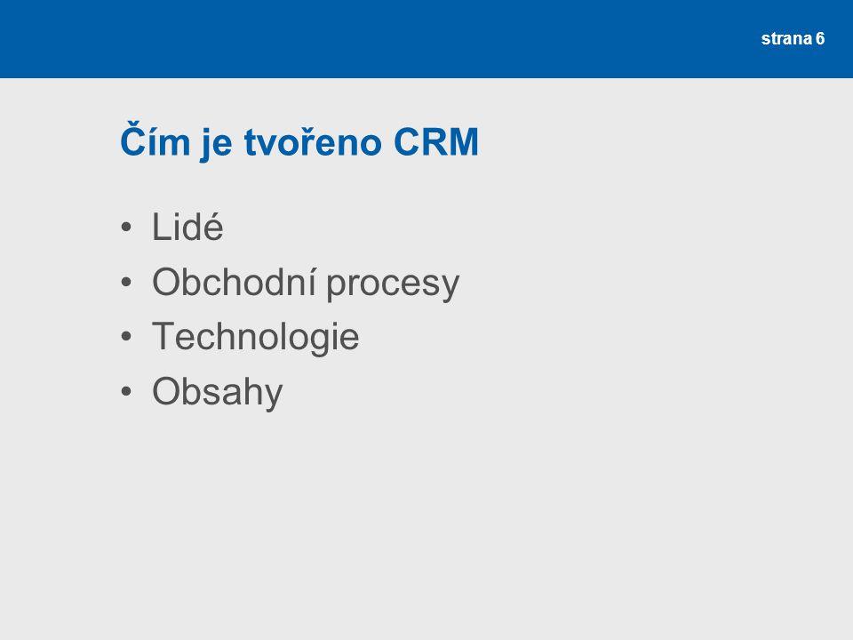 Čím je tvořeno CRM •Lidé •Obchodní procesy •Technologie •Obsahy strana 6