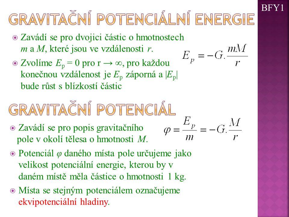  Zavádí se pro dvojici částic o hmotnostech m a M, které jsou ve vzdálenosti r.  Zvolíme E p = 0 pro r → ∞, pro každou konečnou vzdálenost je E p zá