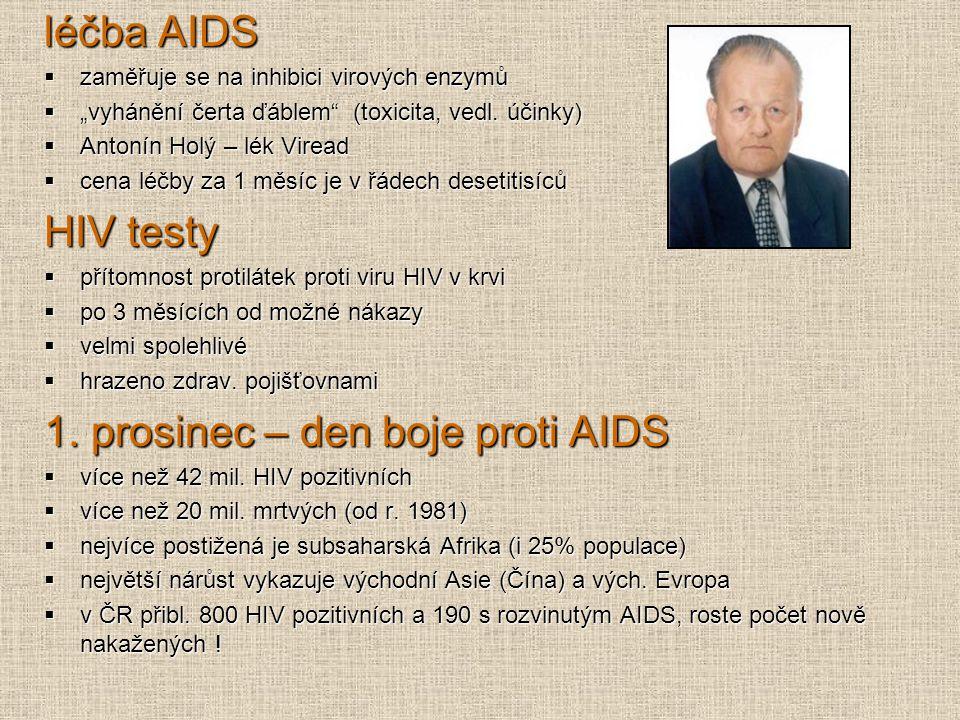 """léčba AIDS  zaměřuje se na inhibici virových enzymů  """"vyhánění čerta ďáblem"""" (toxicita, vedl. účinky)  Antonín Holý – lék Viread  cena léčby za 1"""