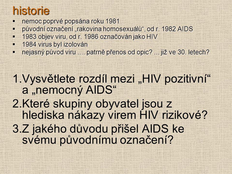 """historie  nemoc poprvé popsána roku 1981  původní označení """"rakovina homosexuálů"""", od r. 1982 AIDS  1983 objev viru, od r. 1986 označován jako HIV"""