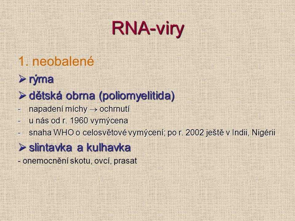 RNA-viry 1. neobalené  rýma  dětská obrna (poliomyelitida) -napadení míchy  ochrnutí -u nás od r. 1960 vymýcena -snaha WHO o celosvětové vymýcení;