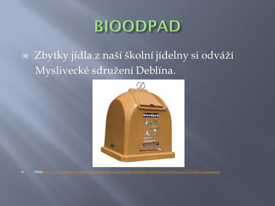  Zbytky jídla z naší školní jídelny si odváží Myslivecké sdružení Deblína.  Zdroj: http://www.google.cz/imgres?q=bioodpad&hl=cs&gbv=2&biw=1016&bih=5
