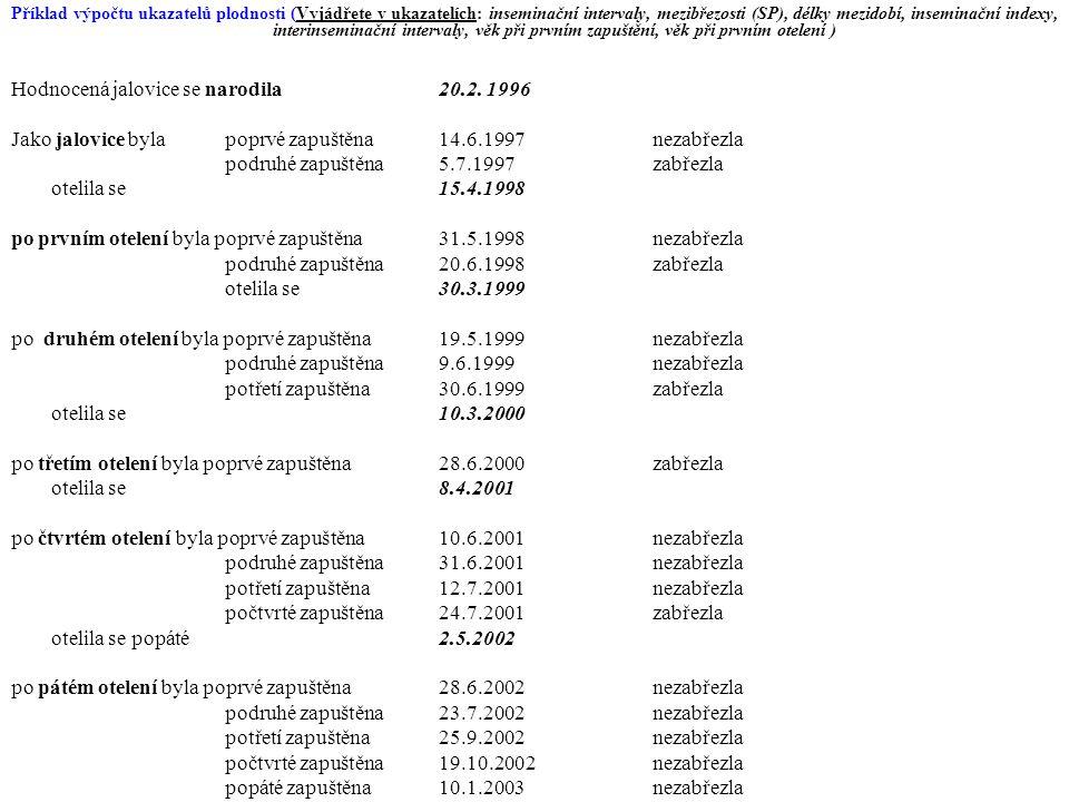 Příklad výpočtu ukazatelů plodnosti (Vyjádřete v ukazatelích: inseminační intervaly, mezibřezosti (SP), délky mezidobí, inseminační indexy, interinseminační intervaly, věk při prvním zapuštění, věk při prvním otelení ) Hodnocená jalovice se narodila 20.2.