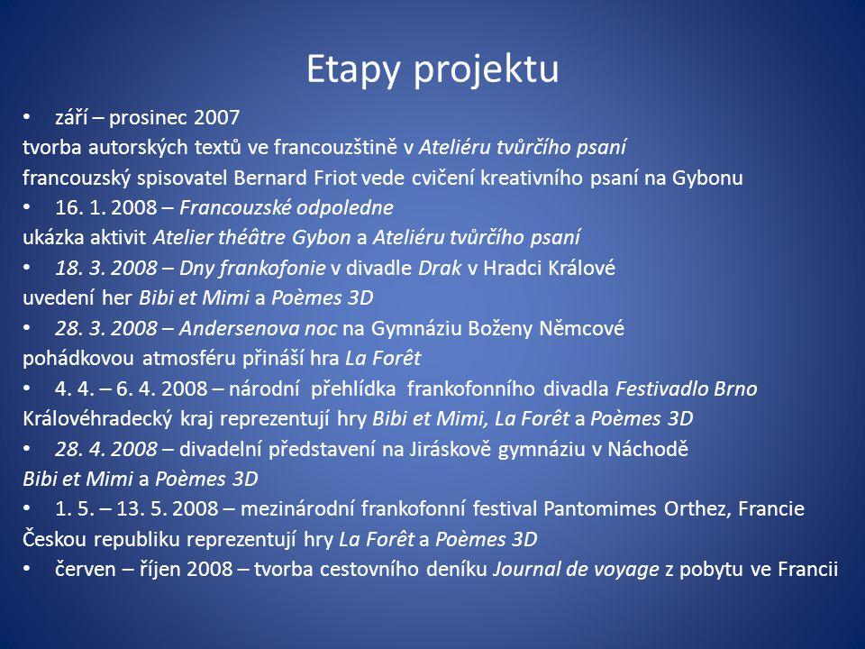 Etapy projektu • září – prosinec 2007 tvorba autorských textů ve francouzštině v Ateliéru tvůrčího psaní francouzský spisovatel Bernard Friot vede cvi