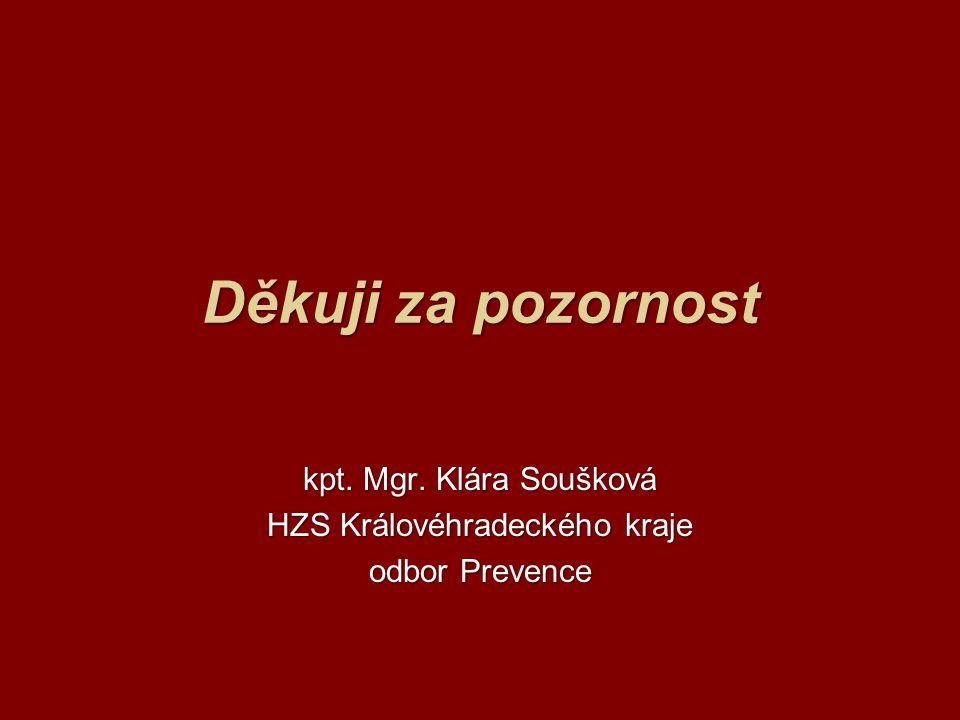 Děkuji za pozornost kpt. Mgr. Klára Soušková HZS Královéhradeckého kraje odbor Prevence