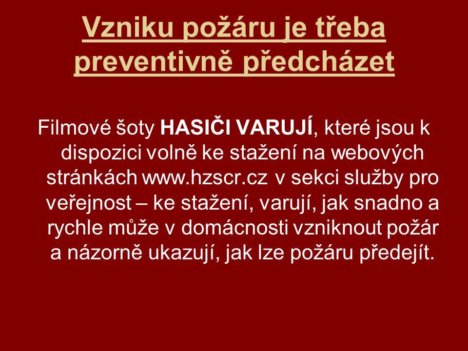 Vzniku požáru je třeba preventivně předcházet Filmové šoty HASIČI VARUJÍ, které jsou k dispozici volně ke stažení na webových stránkách www.hzscr.cz v