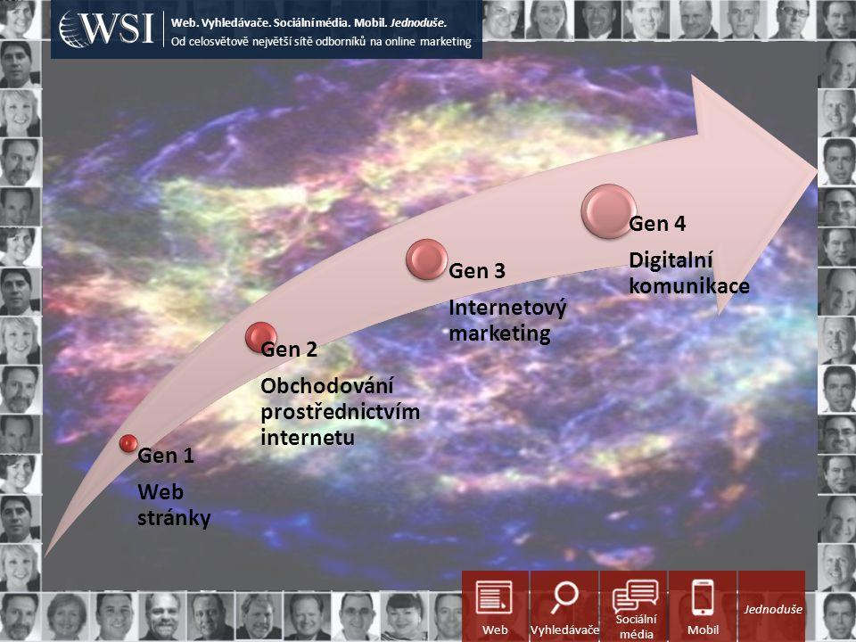 Gen 1 Web stránky Gen 2 Obchodování prostřednictvím internetu Gen 3 Internetový marketing Gen 4 Digitalní komunikace Od celosvětově největší sítě odborníků na online marketing Web.