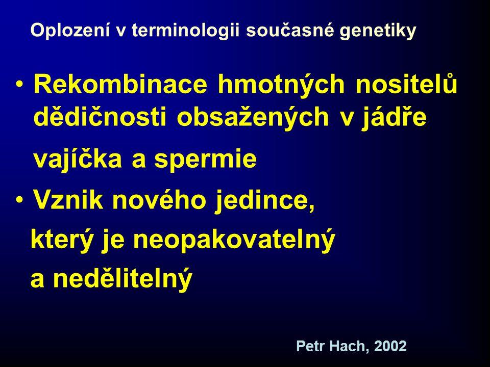 Oplození v terminologii současné genetiky •Rekombinace hmotných nositelů dědičnosti obsažených v jádře vajíčka a spermie •Vznik nového jedince, který