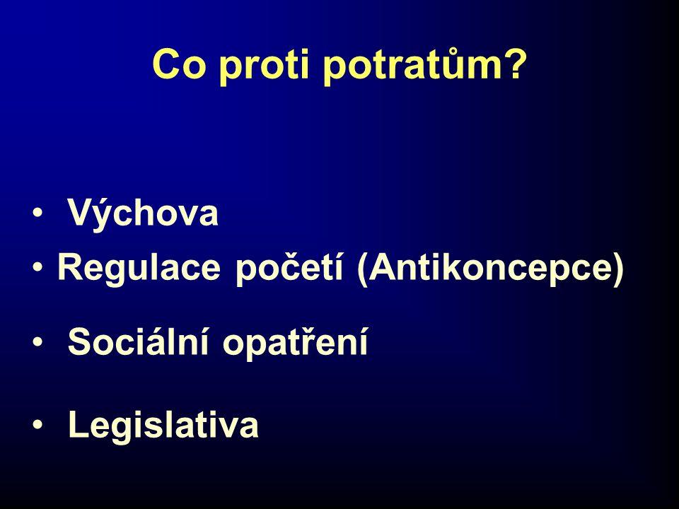 Co proti potratům? • Výchova •Regulace početí (Antikoncepce) • Sociální opatření • Legislativa