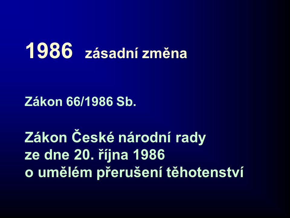 1986 zásadní změna Zákon 66/1986 Sb. Zákon České národní rady ze dne 20. října 1986 o umělém přerušení těhotenství