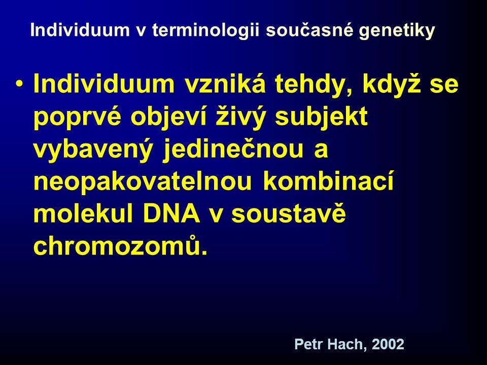 Oplození v terminologii současné genetiky •Rekombinace hmotných nositelů dědičnosti obsažených v jádře vajíčka a spermie •Vznik nového jedince, který je neopakovatelný a nedělitelný Petr Hach, 2002