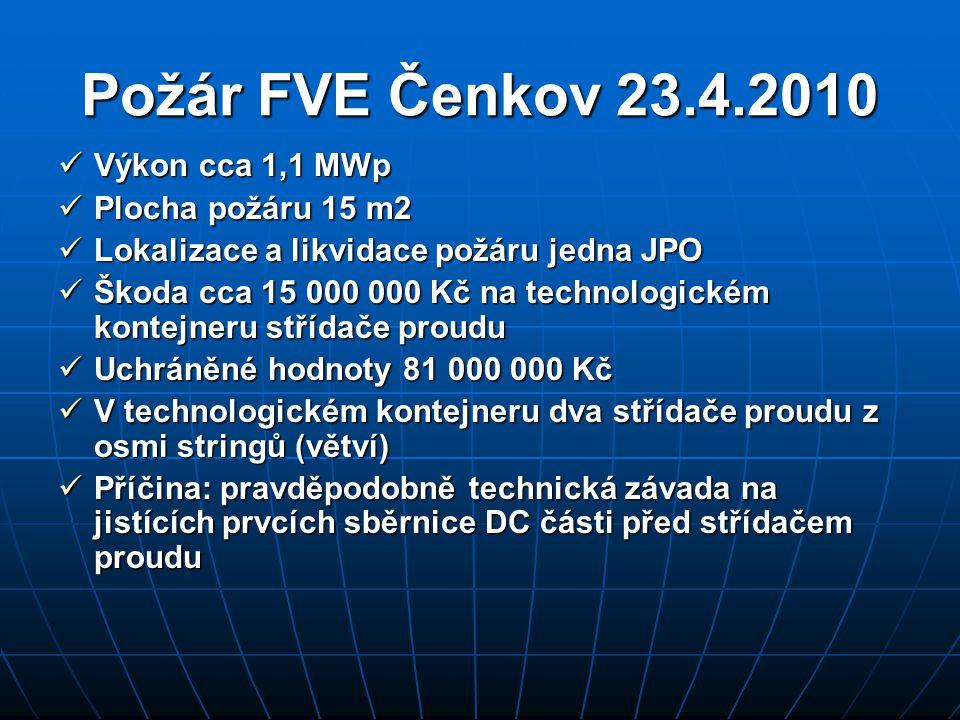 Požár FVE Čenkov 23.4.2010  Výkon cca 1,1 MWp  Plocha požáru 15 m2  Lokalizace a likvidace požáru jedna JPO  Škoda cca 15 000 000 Kč na technologi