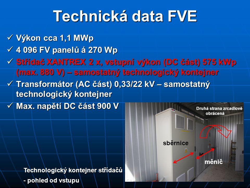 Technická data FVE  Výkon cca 1,1 MWp  4 096 FV panelů á 270 Wp  Střídač XANTREX 2 x, vstupní výkon (DC část) 575 kWp (max. 880 V) – samostatný tec