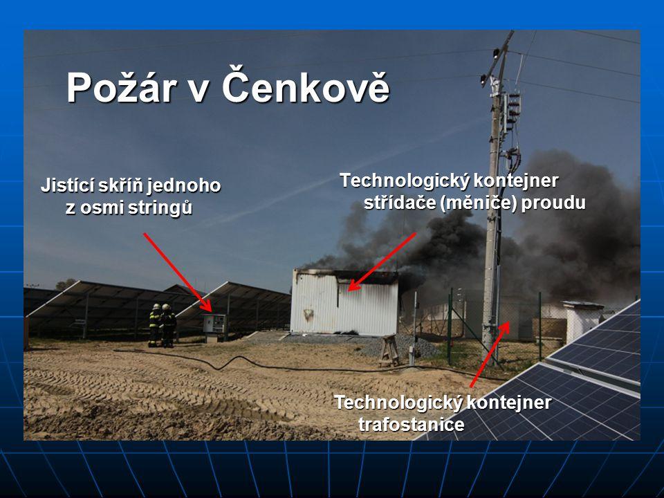 Požár v Čenkově Technologický kontejner střídače (měniče) proudu Jistící skříň jednoho z osmi stringů Technologický kontejner trafostanice
