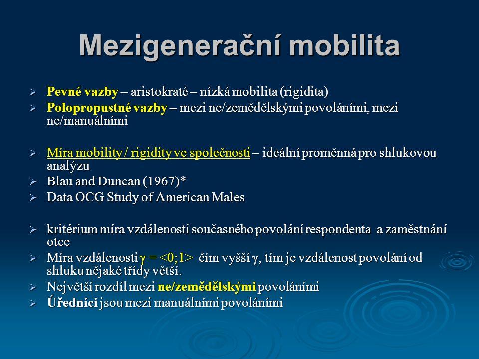 Mezigenerační mobilita  Pevné vazby – aristokraté – nízká mobilita (rigidita)  Polopropustné vazby – mezi ne/zemědělskými povoláními, mezi ne/manuál