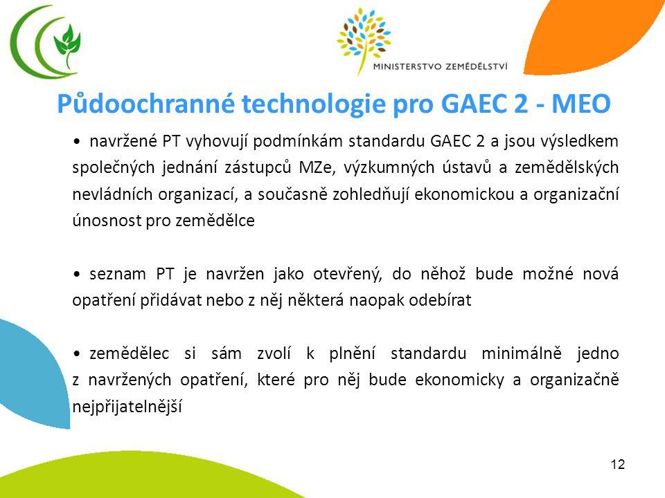 12 • navržené PT vyhovují podmínkám standardu GAEC 2 a jsou výsledkem společných jednání zástupců MZe, výzkumných ústavů a zemědělských nevládních org