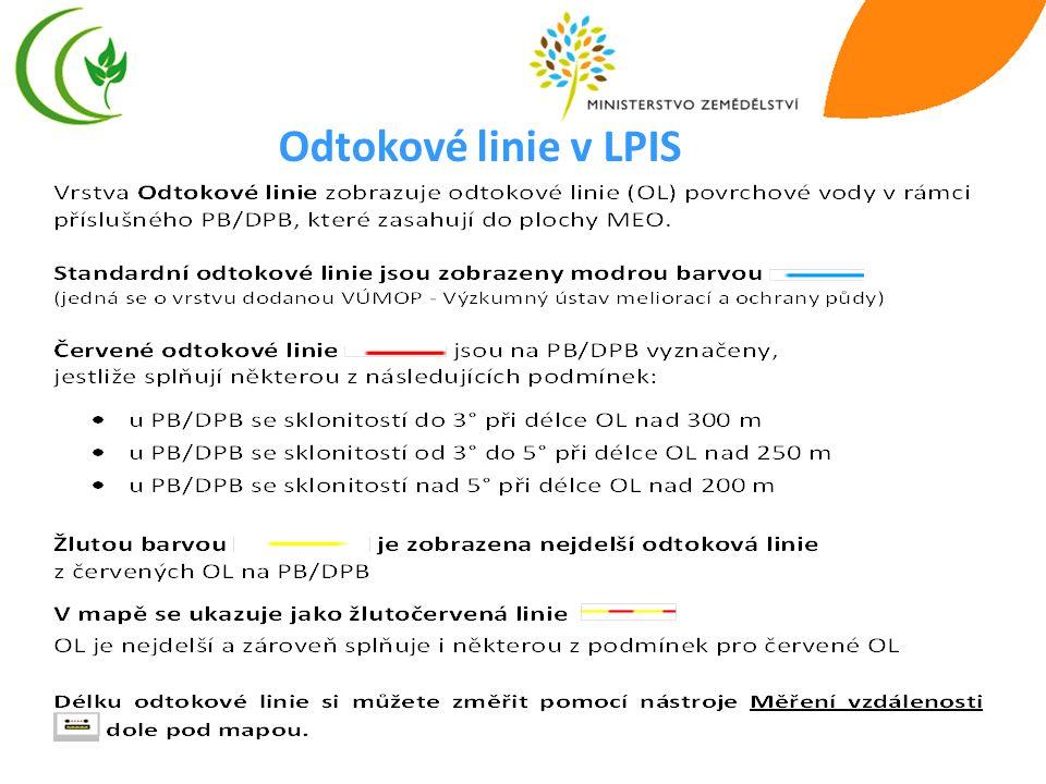 15 Odtokové linie v LPIS