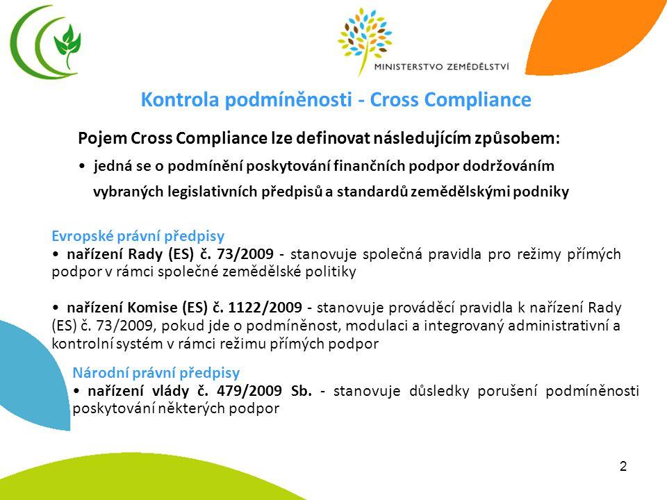 2 Kontrola podmíněnosti - Cross Compliance Pojem Cross Compliance lze definovat následujícím způsobem: • jedná se o podmínění poskytování finančních p