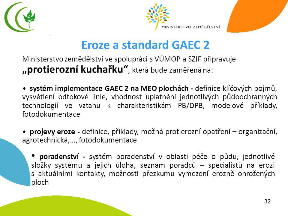 """32 Ministerstvo zemědělství ve spolupráci s VÚMOP a SZIF připravuje """"protierozní kuchařku , která bude zaměřená na: • systém implementace GAEC 2 na MEO plochách - definice klíčových pojmů, vysvětlení odtokové linie, vhodnost uplatnění jednotlivých půdoochranných technologií ve vztahu k charakteristikám PB/DPB, modelové příklady, fotodokumentace • projevy eroze - definice, příklady, možná protierozní opatření – organizační, agrotechnická,…, fotodokumentace Eroze a standard GAEC 2 • poradenství - systém poradenství v oblasti péče o půdu, jednotlivé složky systému a jejich úloha, seznam poradců – specialistů na erozi s aktuálními kontakty, možnosti přezkumu vymezení erozně ohrožených ploch"""