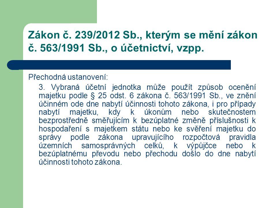 Zákon č. 239/2012 Sb., kterým se mění zákon č. 563/1991 Sb., o účetnictví, vzpp. Přechodná ustanovení: 3. Vybraná účetní jednotka může použít způsob o