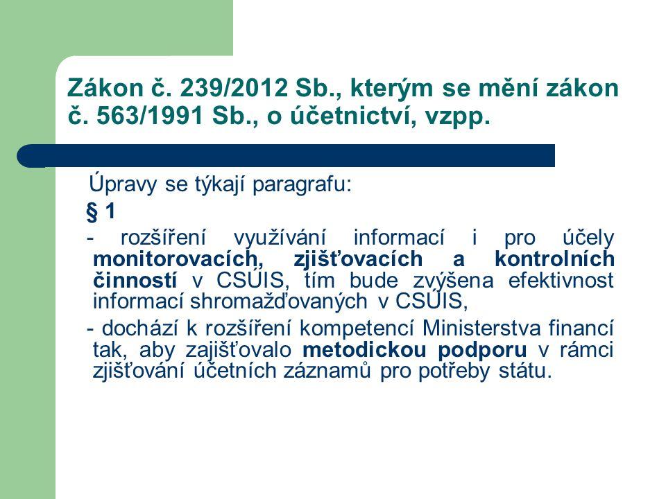 Zákon č. 239/2012 Sb., kterým se mění zákon č. 563/1991 Sb., o účetnictví, vzpp. Úpravy se týkají paragrafu: § 1 - rozšíření využívání informací i pro