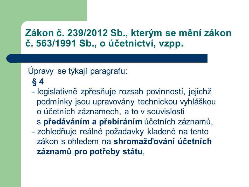 Zákon č. 239/2012 Sb., kterým se mění zákon č. 563/1991 Sb., o účetnictví, vzpp. Úpravy se týkají paragrafu: § 4 - legislativně zpřesňuje rozsah povin