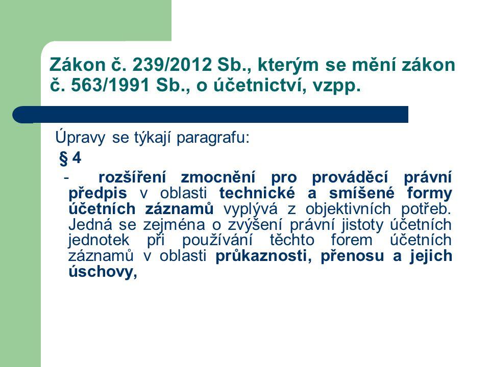 Zákon č. 239/2012 Sb., kterým se mění zákon č. 563/1991 Sb., o účetnictví, vzpp. Úpravy se týkají paragrafu: § 4 - rozšíření zmocnění pro prováděcí pr