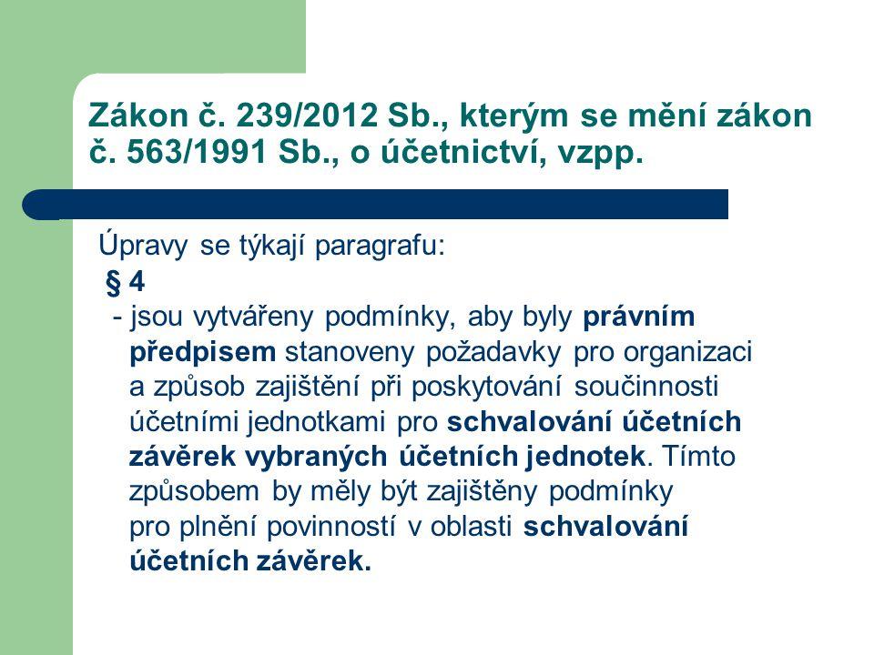 Zákon č. 239/2012 Sb., kterým se mění zákon č. 563/1991 Sb., o účetnictví, vzpp. Úpravy se týkají paragrafu: § 4 - jsou vytvářeny podmínky, aby byly p