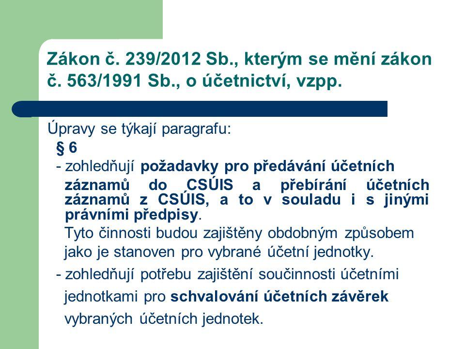 Zákon č. 239/2012 Sb., kterým se mění zákon č. 563/1991 Sb., o účetnictví, vzpp. Úpravy se týkají paragrafu: § 6 - zohledňují požadavky pro předávání