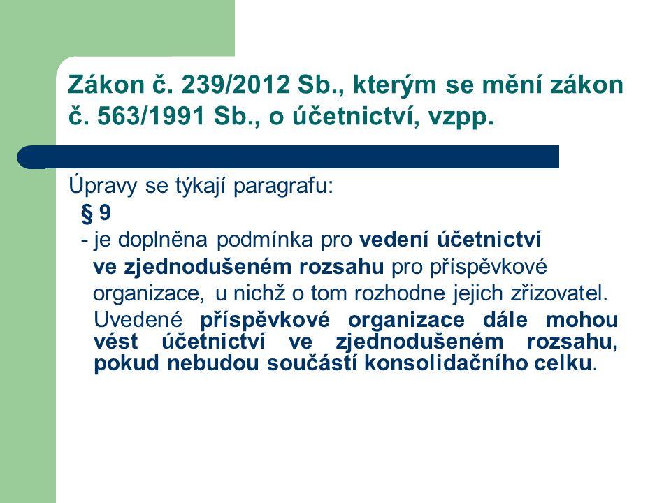 Zákon č. 239/2012 Sb., kterým se mění zákon č. 563/1991 Sb., o účetnictví, vzpp. Úpravy se týkají paragrafu: § 9 - je doplněna podmínka pro vedení úče