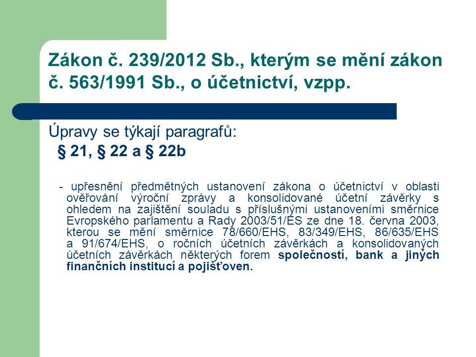 Zákon č. 239/2012 Sb., kterým se mění zákon č. 563/1991 Sb., o účetnictví, vzpp. Úpravy se týkají paragrafů: § 21, § 22 a § 22b - upřesnění předmětnýc
