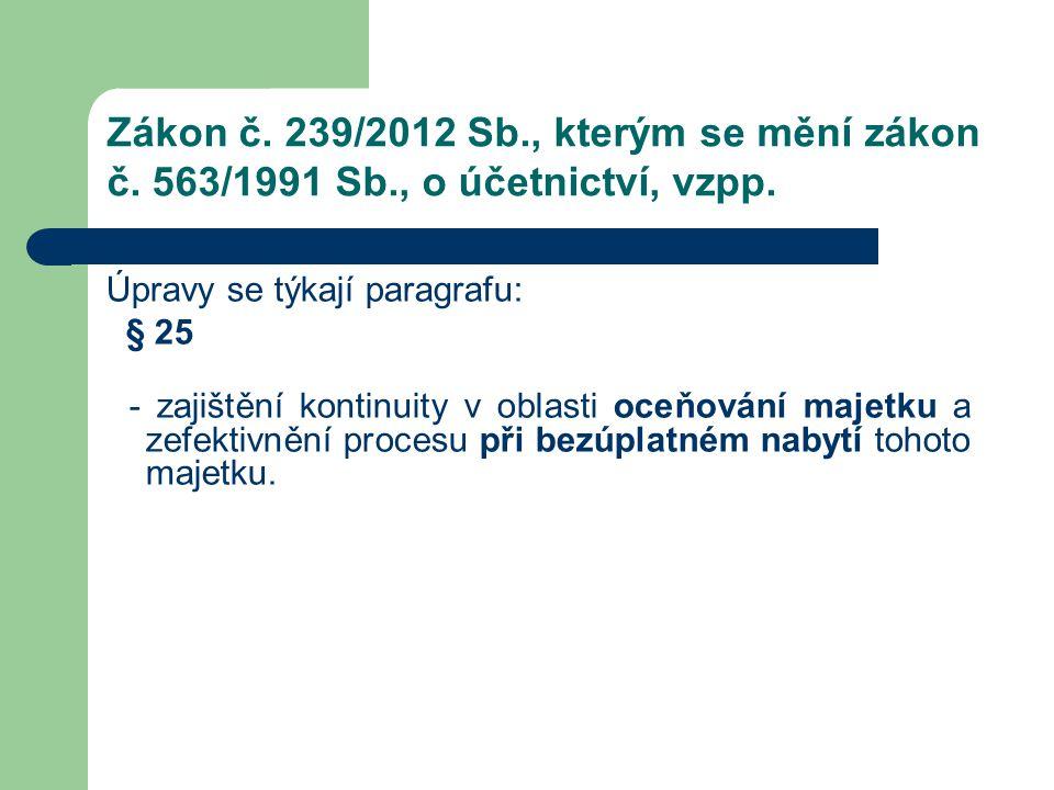Zákon č. 239/2012 Sb., kterým se mění zákon č. 563/1991 Sb., o účetnictví, vzpp. Úpravy se týkají paragrafu: § 25 - zajištění kontinuity v oblasti oce