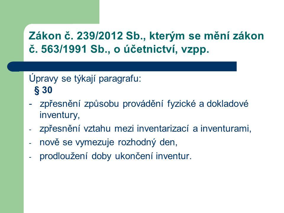 Zákon č. 239/2012 Sb., kterým se mění zákon č. 563/1991 Sb., o účetnictví, vzpp. Úpravy se týkají paragrafu: § 30 - zpřesnění způsobu provádění fyzick