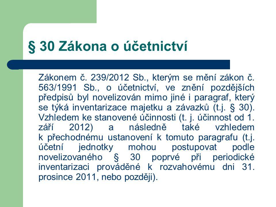 § 30 Zákona o účetnictví Zákonem č. 239/2012 Sb., kterým se mění zákon č. 563/1991 Sb., o účetnictví, ve znění pozdějších předpisů byl novelizován mim