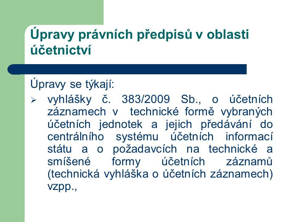 Úpravy právních předpisů v oblasti účetnictví Úpravy se týkají:  vyhlášky č. 383/2009 Sb., o účetních záznamech v technické formě vybraných účetních