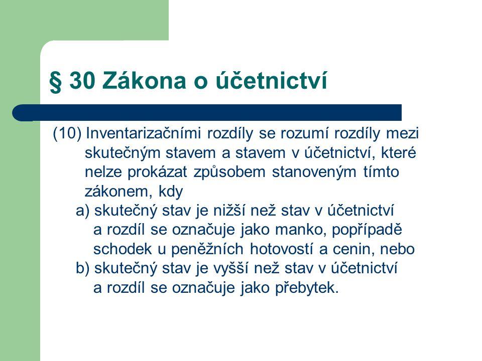 § 30 Zákona o účetnictví (10) Inventarizačními rozdíly se rozumí rozdíly mezi skutečným stavem a stavem v účetnictví, které nelze prokázat způsobem st