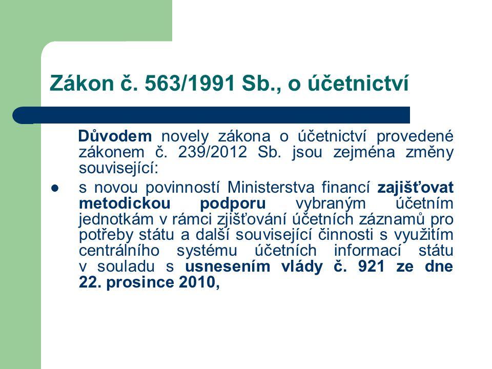 Zákon č. 563/1991 Sb., o účetnictví Důvodem novely zákona o účetnictví provedené zákonem č. 239/2012 Sb. jsou zejména změny související:  s novou pov