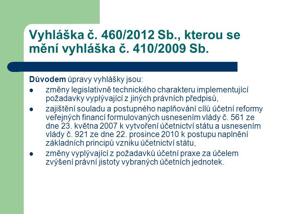 Vyhláška č. 460/2012 Sb., kterou se mění vyhláška č. 410/2009 Sb. Důvodem úpravy vyhlášky jsou:  změny legislativně technického charakteru implementu