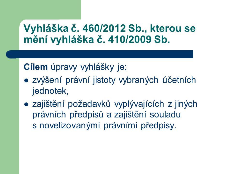 Vyhláška č. 460/2012 Sb., kterou se mění vyhláška č. 410/2009 Sb. Cílem úpravy vyhlášky je:  zvýšení právní jistoty vybraných účetních jednotek,  za