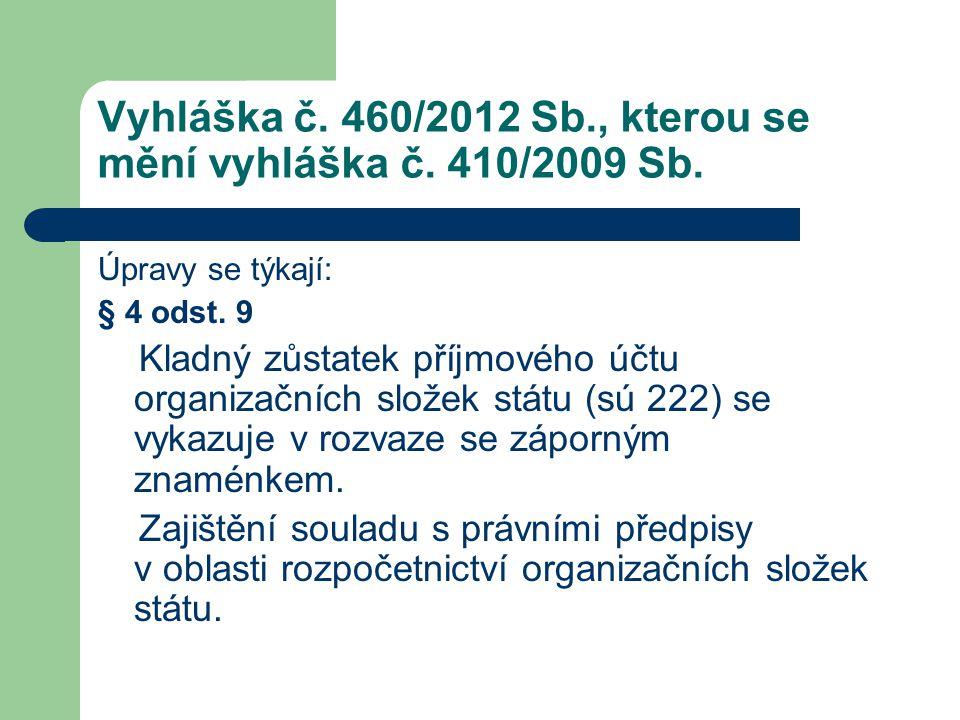 Vyhláška č. 460/2012 Sb., kterou se mění vyhláška č. 410/2009 Sb. Úpravy se týkají: § 4 odst. 9 Kladný zůstatek příjmového účtu organizačních složek s