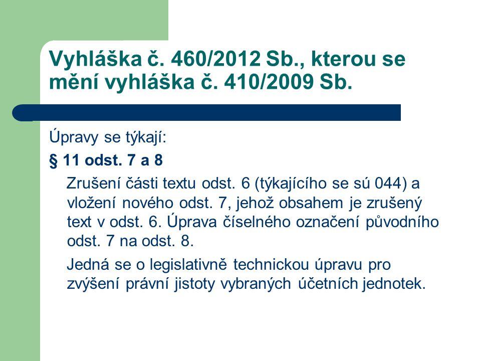 Vyhláška č. 460/2012 Sb., kterou se mění vyhláška č. 410/2009 Sb. Úpravy se týkají: § 11 odst. 7 a 8 Zrušení části textu odst. 6 (týkajícího se sú 044