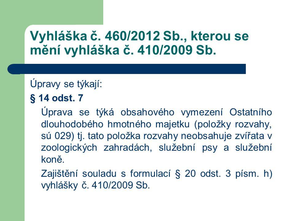 Vyhláška č. 460/2012 Sb., kterou se mění vyhláška č. 410/2009 Sb. Úpravy se týkají: § 14 odst. 7 Úprava se týká obsahového vymezení Ostatního dlouhodo