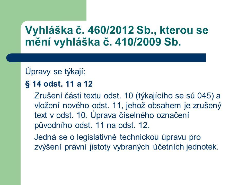 Vyhláška č. 460/2012 Sb., kterou se mění vyhláška č. 410/2009 Sb. Úpravy se týkají: § 14 odst. 11 a 12 Zrušení části textu odst. 10 (týkajícího se sú