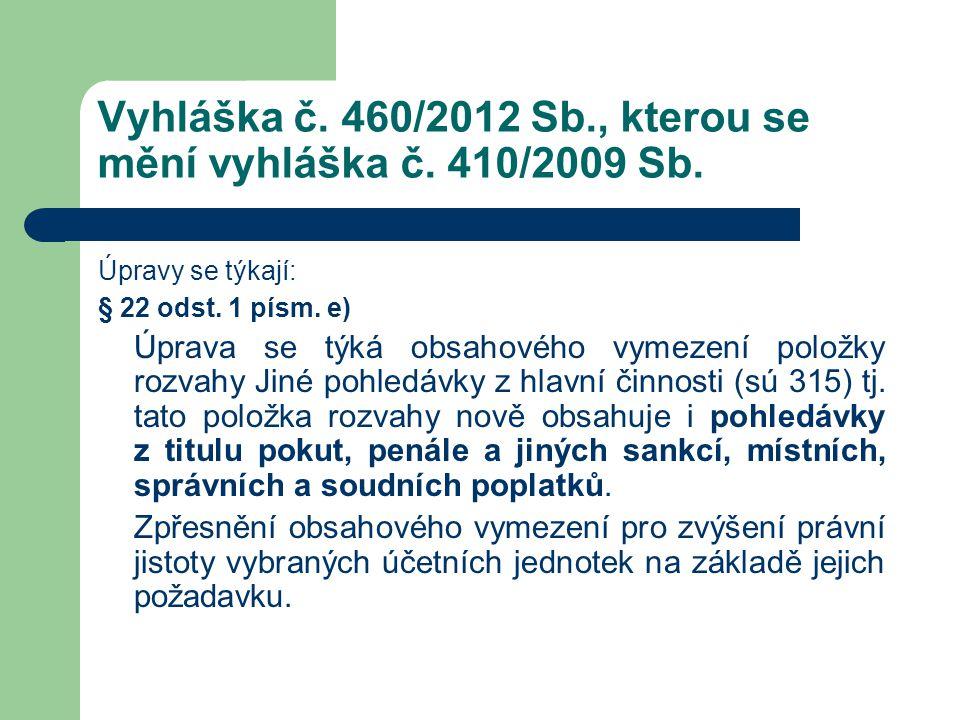 Vyhláška č. 460/2012 Sb., kterou se mění vyhláška č. 410/2009 Sb. Úpravy se týkají: § 22 odst. 1 písm. e) Úprava se týká obsahového vymezení položky r