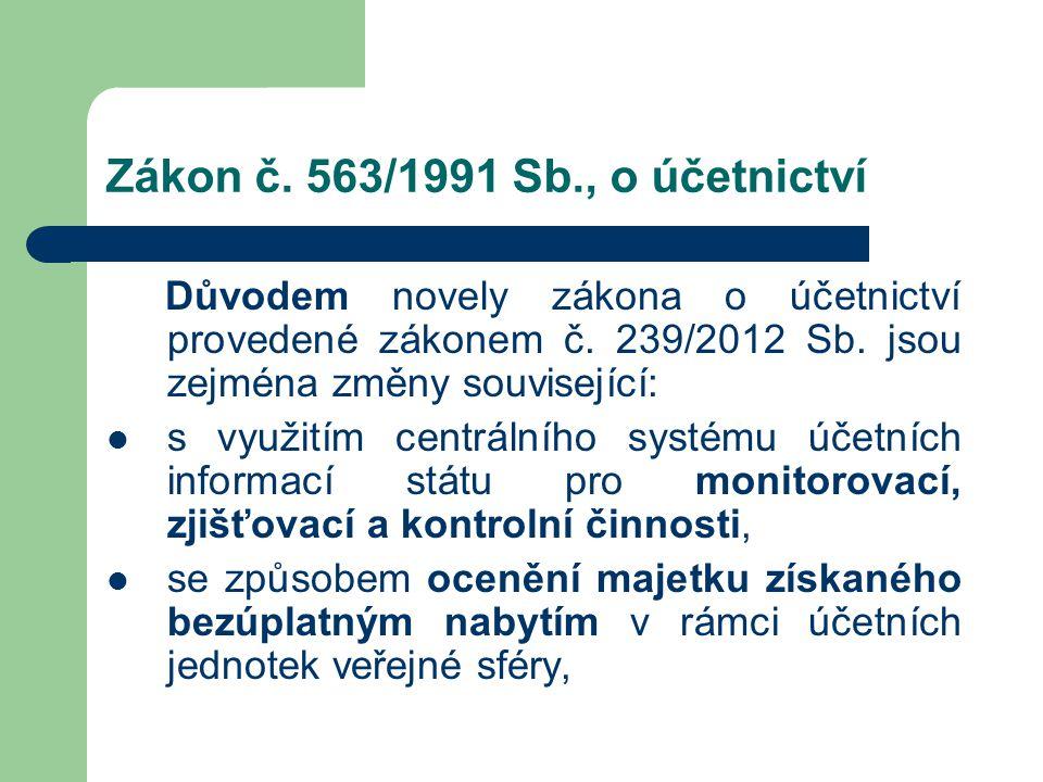 Zákon č. 563/1991 Sb., o účetnictví Důvodem novely zákona o účetnictví provedené zákonem č. 239/2012 Sb. jsou zejména změny související:  s využitím