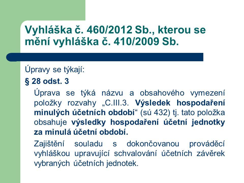 Vyhláška č. 460/2012 Sb., kterou se mění vyhláška č. 410/2009 Sb. Úpravy se týkají: § 28 odst. 3 Úprava se týká názvu a obsahového vymezení položky ro